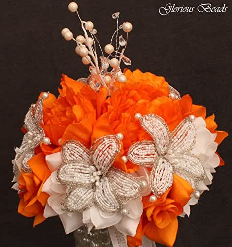 orange beaded lily wedding bridal bouquet orange and white with peonies and roses. Black Bedroom Furniture Sets. Home Design Ideas