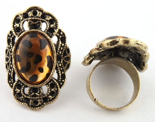 Ladies Gold Antique Round Style with Cheetah Print Oval Center Metal Adjustable Finger Ring