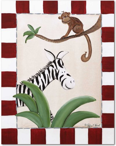 "Doodlefish Gallery-Wrapped 16""x20"" Wall Art, Zebra and Monkey"