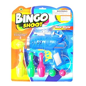 Kids Plastic Gun Ball Shooter with Bowling Pins Target Set in Blue Green or Orange