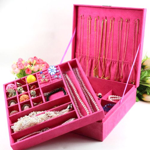 Kloud City ® Hot Pink Two-Layer Lint Jewelry Box Organizer Display Storage Case With Lock
