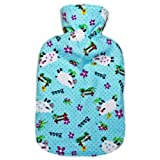 Warm Tradition Child/Travel Size Counting Sheep Flannel Covered Hot Water Bottle - Bottle made in Germany, Cover made in USA