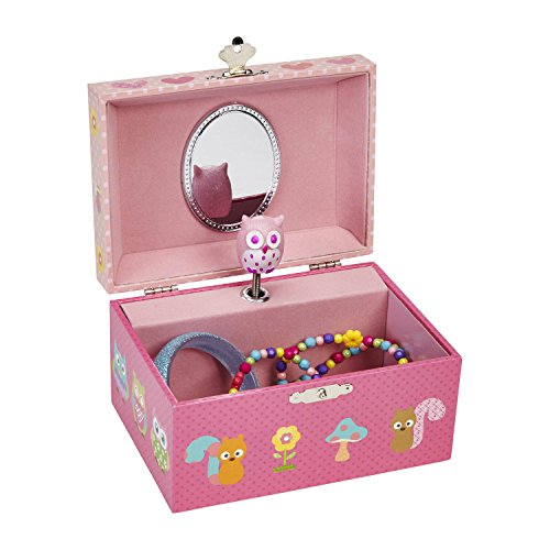 JewelKeeper Pink Owl and Friend's Music Jewelry Box with Dancing Owl, Dotted Pink Design, Swan Lake Tune