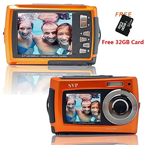 SVP-Aqua-5800-Orange-with-Micro-32GB-18-MP-Dual-Screen-Waterproof-Digital-Camera