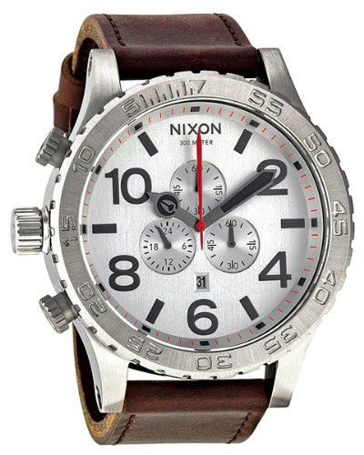 Nixon 51-30 Chrono Leather - Men's ( Silver/Brown )