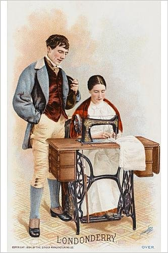 Photographic Print Of Lady From Londonderry Using A Singer Sewing Machine