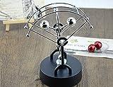 JLERU En abanico Juguete de escritorio balance de la horquilla pegatina de Bolas Ciencia Física de Newton asteroide Kinetic (Plata-Bola)