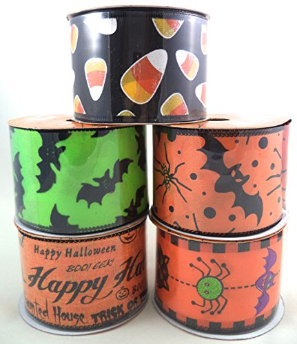 Assorted Halloween Wire Edged Ribbon, 2 1/2 in. X 30 ft., Bundle: (5) Rolls. Candy Corn, Bats, Spiders, Cats.