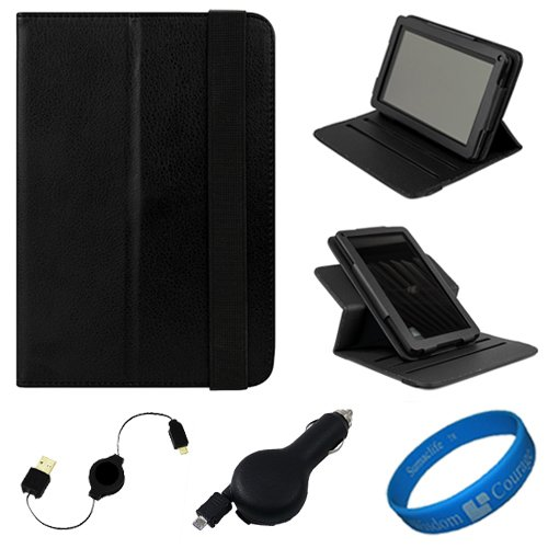 Black Textured Leather Folio Case Cover with Fold to Stand Feature for  Kindle Fire 7 LCD Display, Wi Fi, 8GB Android Tablet Designed for 2011 and 2012 Models + Black Retractable Micro USB Car Charger + Black Retractable Micro USB Sync Data Cable +