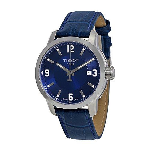 Tissot Men's PRC 200 Quartz Blue Dial Blue Leather Sport Watch T0554101604700 (Tissot Blue Dial Mens Watch compare prices)