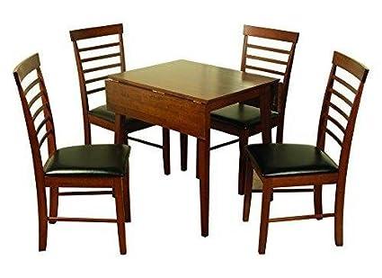 Hawaii madera sólida sillas de comedor con piel sintética de color negro Seatpad–acabado–roble oscuro (conjunto de 2)–Mueble de comedor