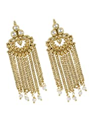 Alluring Chain Dropping Style Gold Plated Polki Earring For Women Gift Jewelry