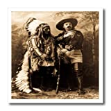 ht_16256_2 Scenes from the Past Vintage Postcards - Sitting Bull and Buffalo Bill 1895 Sepia - Iron on Heat Transfers - 6x6 Iron on Heat Transfer for White Material at Amazon.com