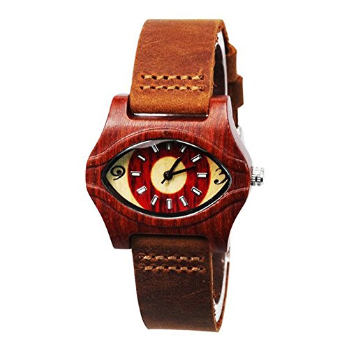 ecvilla-womens-eye-shaped-red-wooden-watch-with-leather-band-ladys-bracelet-watch