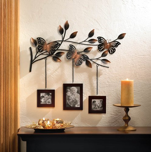 Bronze Butterfly Metal Art Sculpture 3 Photo Picture Wall Frame Family Wallet 2