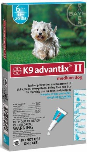 BAYER 004BAY-04461618 K9 Advantix II for Medium Dogs 11 - 20 lbs, Teal - 6 Months  цены