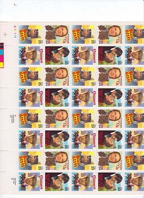 Classic Films Sheet of 50 x 25 Cent US Postage Stamps NEW Scot 2445-48