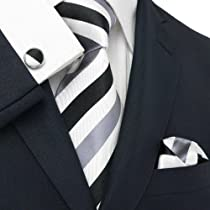 Landisun 30V Black White Stripes Mens Silk Tie Set:Tie+Hanky+Cufflink Exclusive