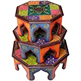 Crafticia Craft Rajasthani Handicraft Traditional Wooden Octagonal Chowki / Stool Set Of 3 Showpiece