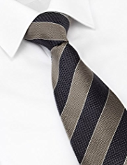 Longer Length Collezione Pure Silk Striped Tie