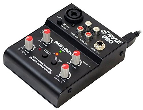 Pyle-Pro PAD10MXU 2 Channel Mini Mixer With USB Audio Interface (2 Channel Xlr Mixer compare prices)