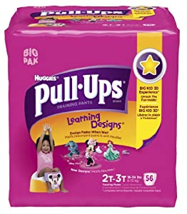 Huggies Pull-Ups Learning Design Training Pants, Size 2T-3T, Girl, 56 Count (Pack of 2) - 112 total count