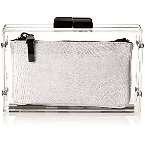 French Connection Sportivo Crystal Clear Clutch,White Lizard,One Size