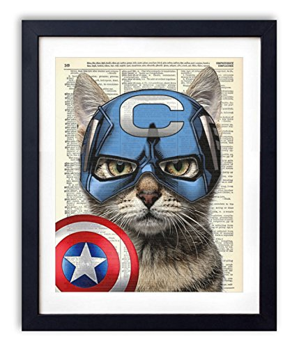 captain-cat-america-super-hero-vintage-upcycled-dictionary-art-print-8x10-inches