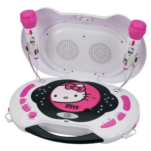 Hello Kitty Karaoke System And Cd Player With Flashing Disco Lights And Double Microphones