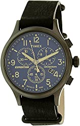 Timex Men's 'Expedition Scout Chrono' Quartz Brass and Leather Casual Watch, Color:Black (Model: TW4B042009J)