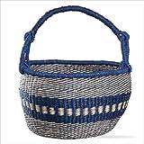 Indigo Blue & Natural Basket with Handle