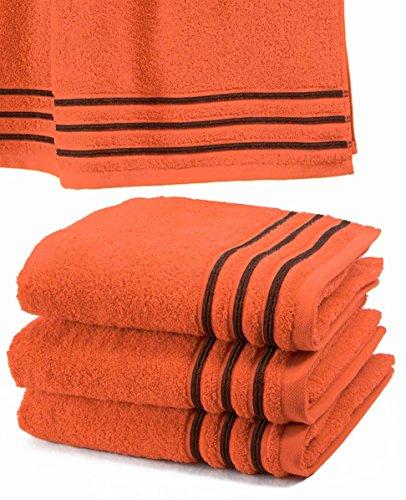Drap De Douche 70x140 cm 100% Coton - 550 grS/m2 Orange Avec Liserets Chocolat