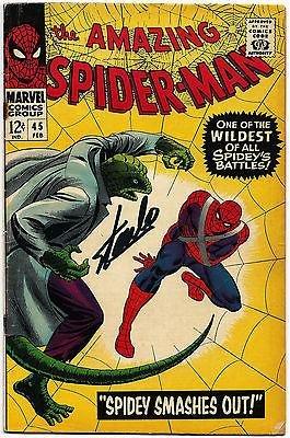 Stan Lee Hand Signed Spiderman #45 Comic Book Graded Gem Mint 10! V078