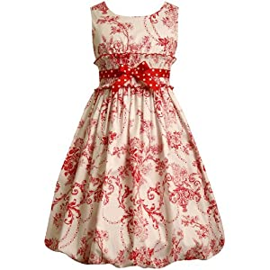 Bonnie Jean Girls 7-16 Ivory With Toile Print Dress: Clothing