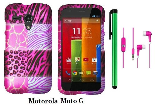 Motorola Moto G (Verizon, Boostmobile) Premium Pretty Design Protector Hard Case Cover + 3.5Mm Stereo Earphones + 1 Of New Metal Stylus Touch Screen Pen (Pink Exotic Skins : Leopard & Zebra & Block)