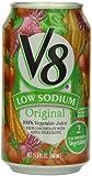V8 Low Sodium 100% Vegetable Juice, 11.5 Fl Oz Cans (Pack of 24)