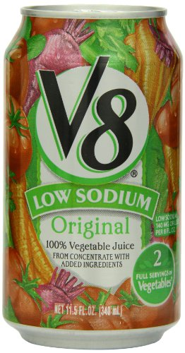 V8 Low Sodium 100% Vegetable Juice, 11.5 Ounce Cans (Pack Of 24)