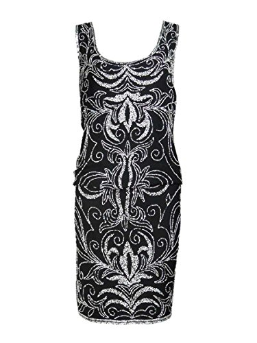 J Kara Women's Sleeveless Beaded Chiffon Blouson Dress (12