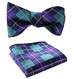 SetSense Men\'s Plaid Jacquard Woven Self Bow Tie Set One Size Aqua / Navy Blue / Purple