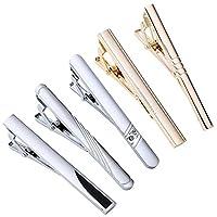 Jovivi Mak ジュエリー ファッションアクセサリー メンズ ステンレス ビジネスタイピン ネクタイピン クラシック スムース シンプル タイピン 五本セット タイバー カラー シルバー ゴールド ギフトバッグを提供