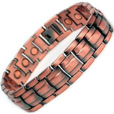 MPS Mens Chuncky Extra Wide Copper Magnetic Therapy Bracelet with clasp and 3,000 gauss Neodymium Magnets - L - 22.5 cm