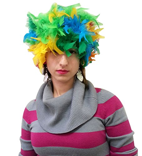 Rainbow Feather Costume Wig - Feather Costume Wig In Bright Colors
