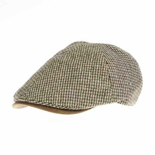 WITHMOONS Coppola Cappello Irish Gatsby Tweed Newsboy Hat faux leather brim Flat Cap SL3019 (Beige)