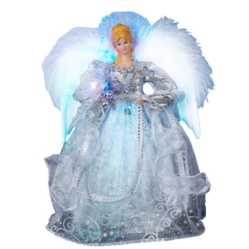 51cAaXAiBtL Kurt Adler 12 Inch Fiber Optic LED Silver Angel Tree Topper