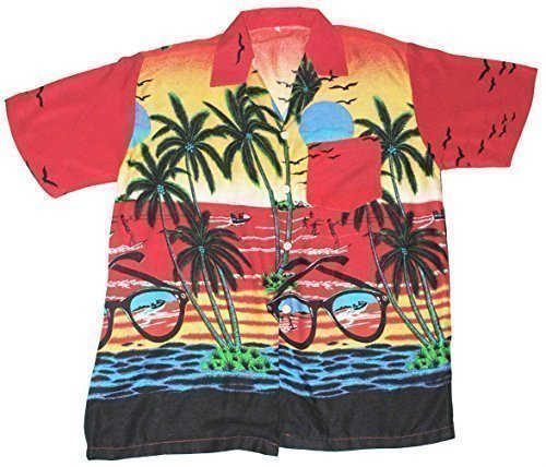 Happy Hawaiian Hut - Damen Hemd Shirt Hawaii Palme Sonnenbrille Motiv - EU 36-40, Rot