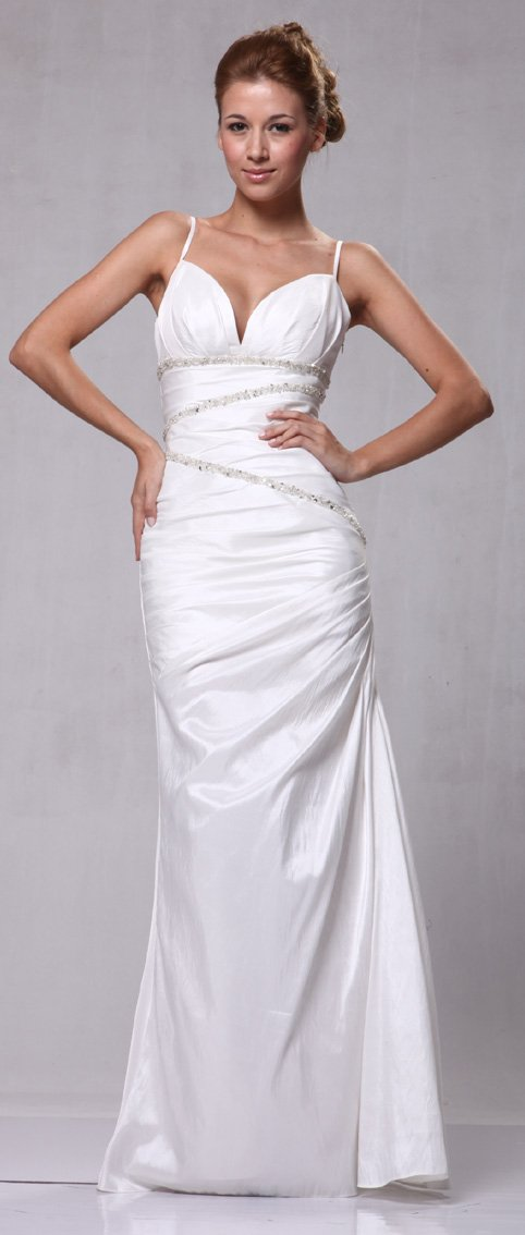 W7236 Off White Bridal Wedding Gown with Sequins