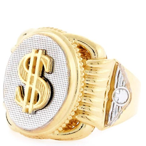 14ct Two Colour Gold Dollar Sign Oval Fancy Mens Ring