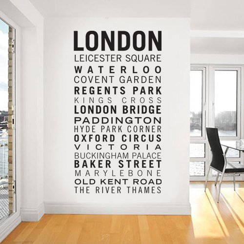 WALL ART STICKER DECAL MURAL TEXT QUOTE DECORATIVE FAMOUS LONDON PLACES IN 3 SIZES & 30 COLOURS (Black, Medium 40cm x 75cm)