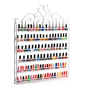 Dazone DIY Mounted 6 Shelf Nail Polish Wall Rack Organizer Holds 120 Bottles Nail Polish or Essential Oils White
