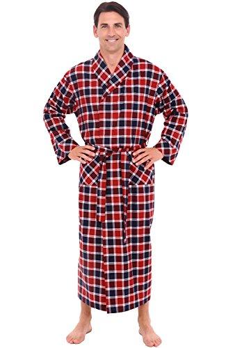 Del Rossa Men's Flannel Robe, Soft Cotton Bathrobe, Small Red and Blue Plaid (A0707Q01SM) (Cool Bath Robes For Men compare prices)